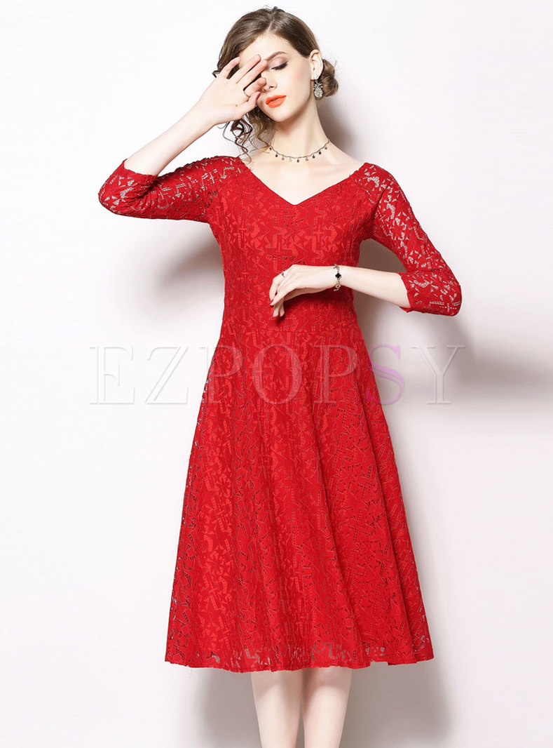 Brief Pure Color V-neck Hollow Out Slim Lace Dress