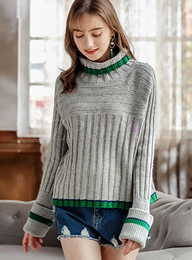 Casual Color-blocked High Neck Knitted Sweater