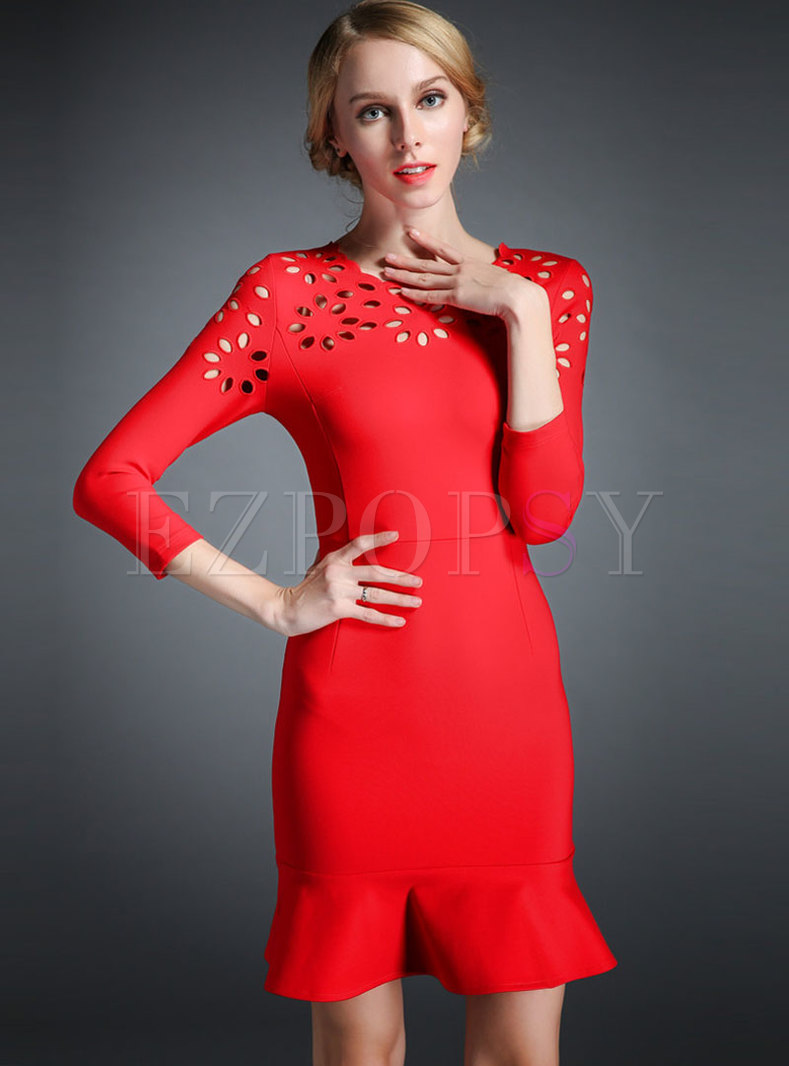 Stylish Red Hollow Out Slim Mermaid Dress