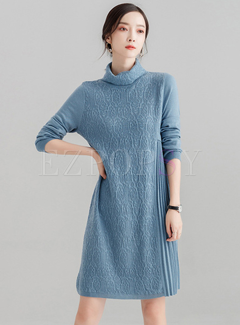 Elegant Turtle Neck Splicing Knitted Pleated Dress