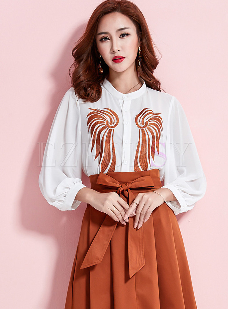 Chiffon Embroidered Strand Collar Lantern Sleeve Blouse