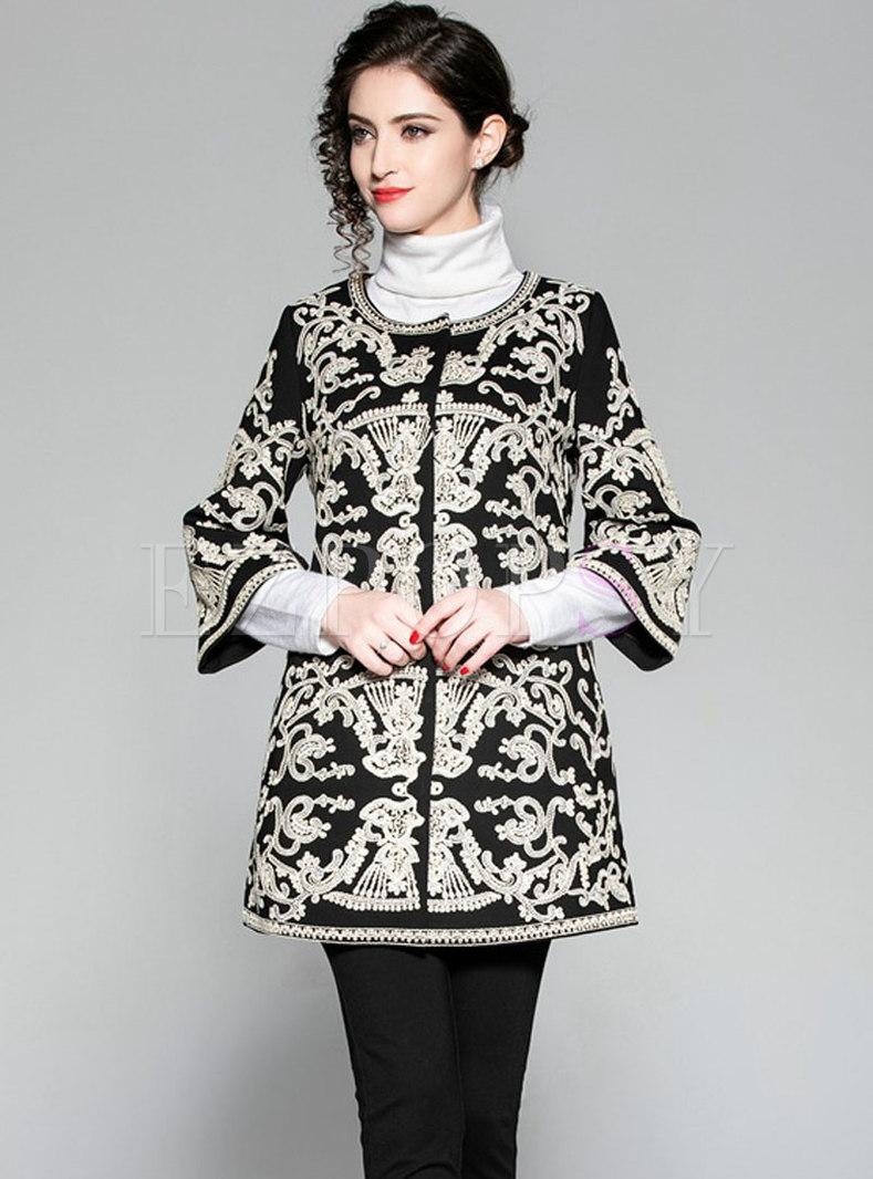 Autumn Fashion Jacquard Beaded Lace-paneled Coat