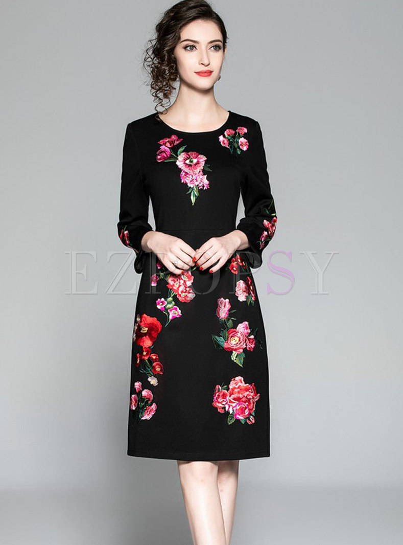 Brief Embroidered Skinny A Line Autumn Dress