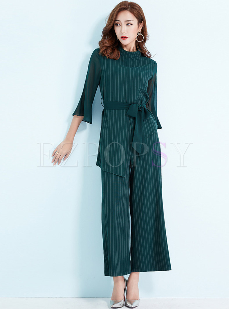 Fashion Perspective Flare Sleeve Striped Two Piece Outfits