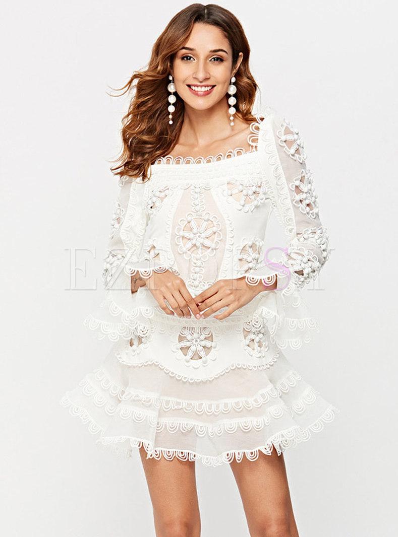 Chic Hollow Out Slash Neck Flare Sleeve Falbala Dress