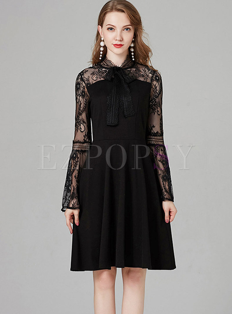 Sexy Lace Splicing Flare Sleeve Bowknot Skater Dress