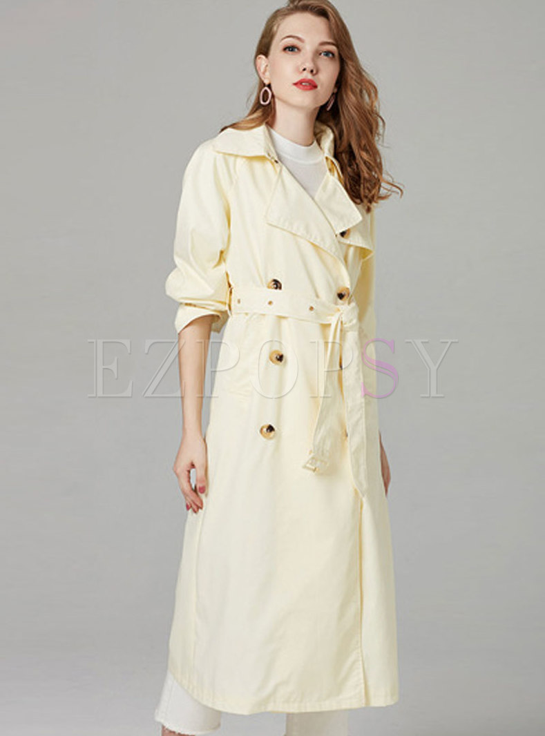 Stylish Lantern Sleeve Belted Double-breasted Slim Trench Coat