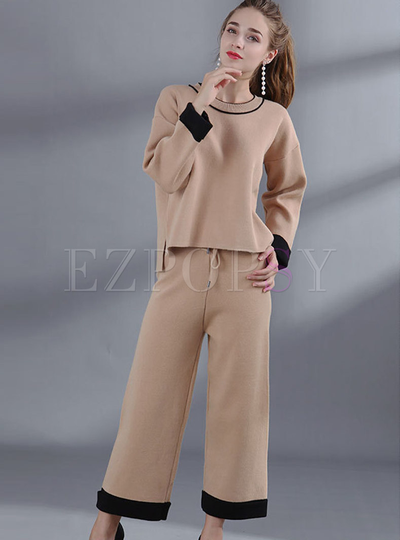 Chic Color-blocked O-neck Loose Sweater & Tied-waist Wide Leg Pants