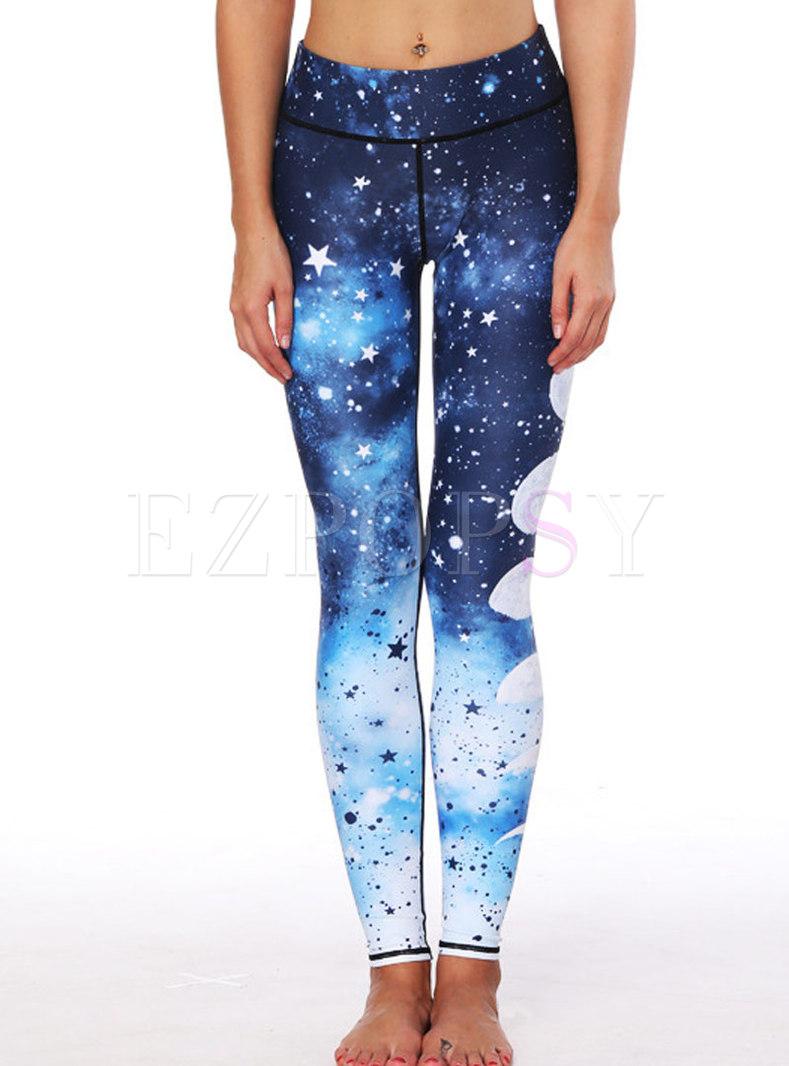 Print Elastic Tight Yoga Bottoms