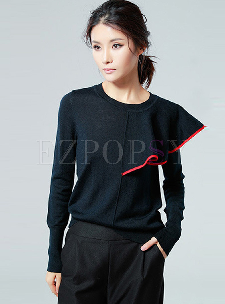Sweet Hit Color Splicing Long Sleeve Wool Top