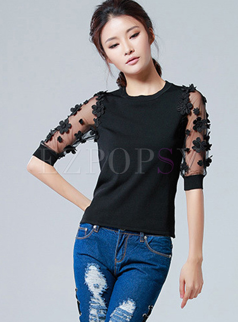 Black Mesh Embroidered Slim Half Sleeve Top