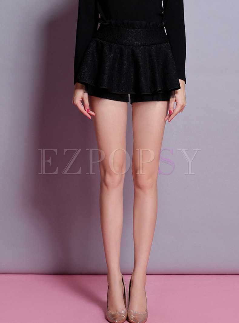 Black High Waisted Lace Patchwork Shorts