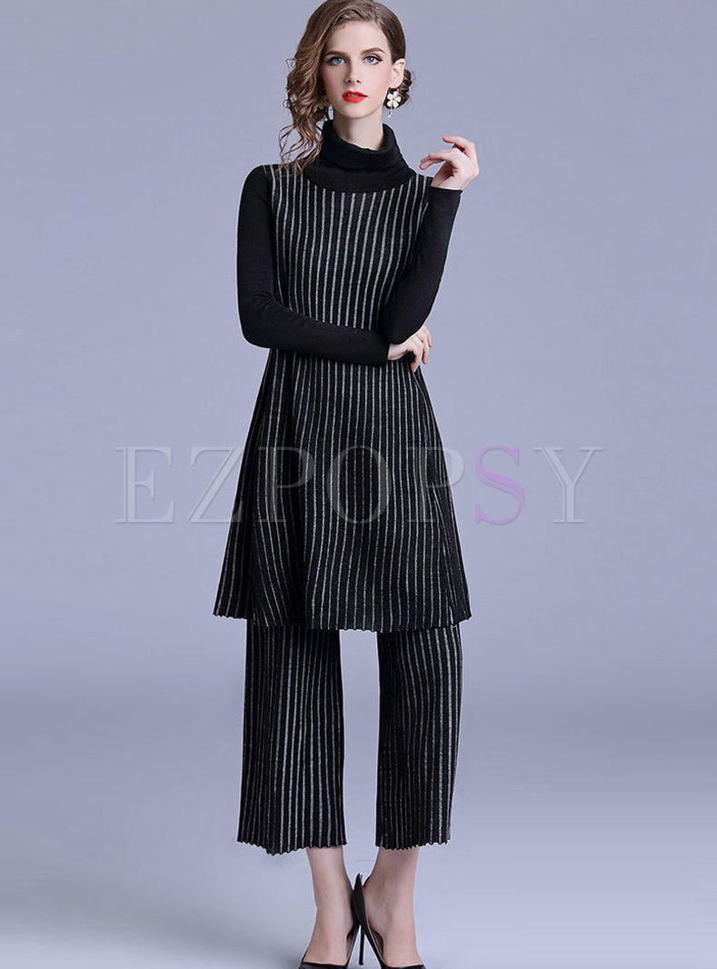 Casual Turtle Neck Knitted Striped Two Piece Outfits
