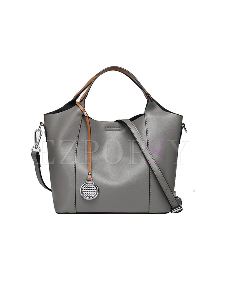 Casual Color-blocked Magnetic Lock Top Handle Bag