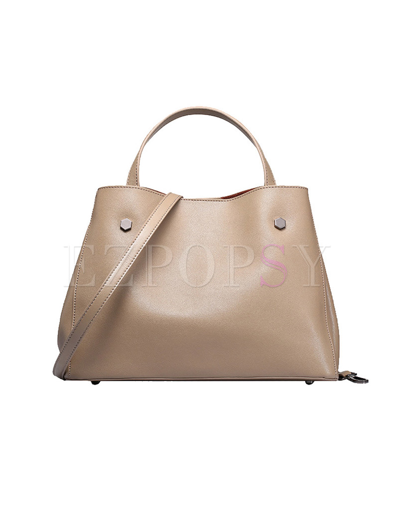 Brief Magnetic Lock Split Cowhide Top Handle Bag