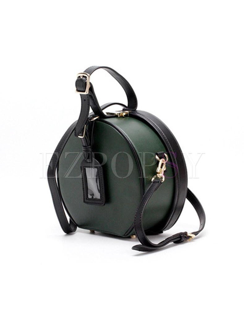 Chic Circular Color-blocked Crossbody Bag
