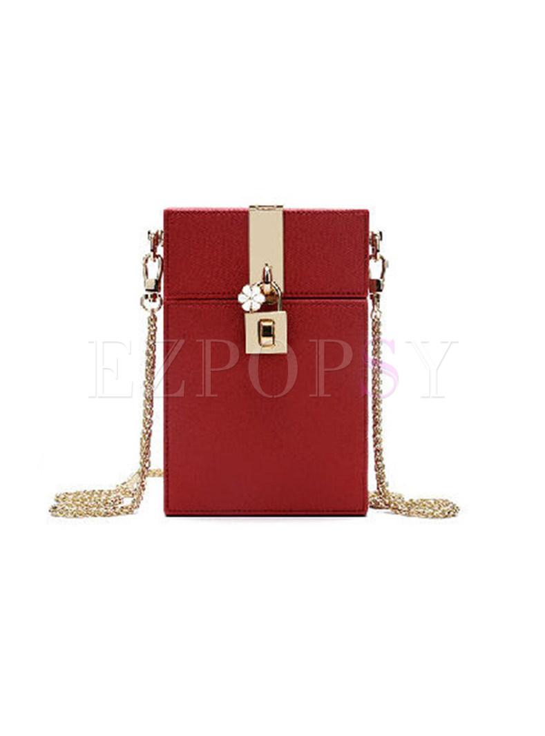 Stylish Clasp Lock Chain Crossbody Bag