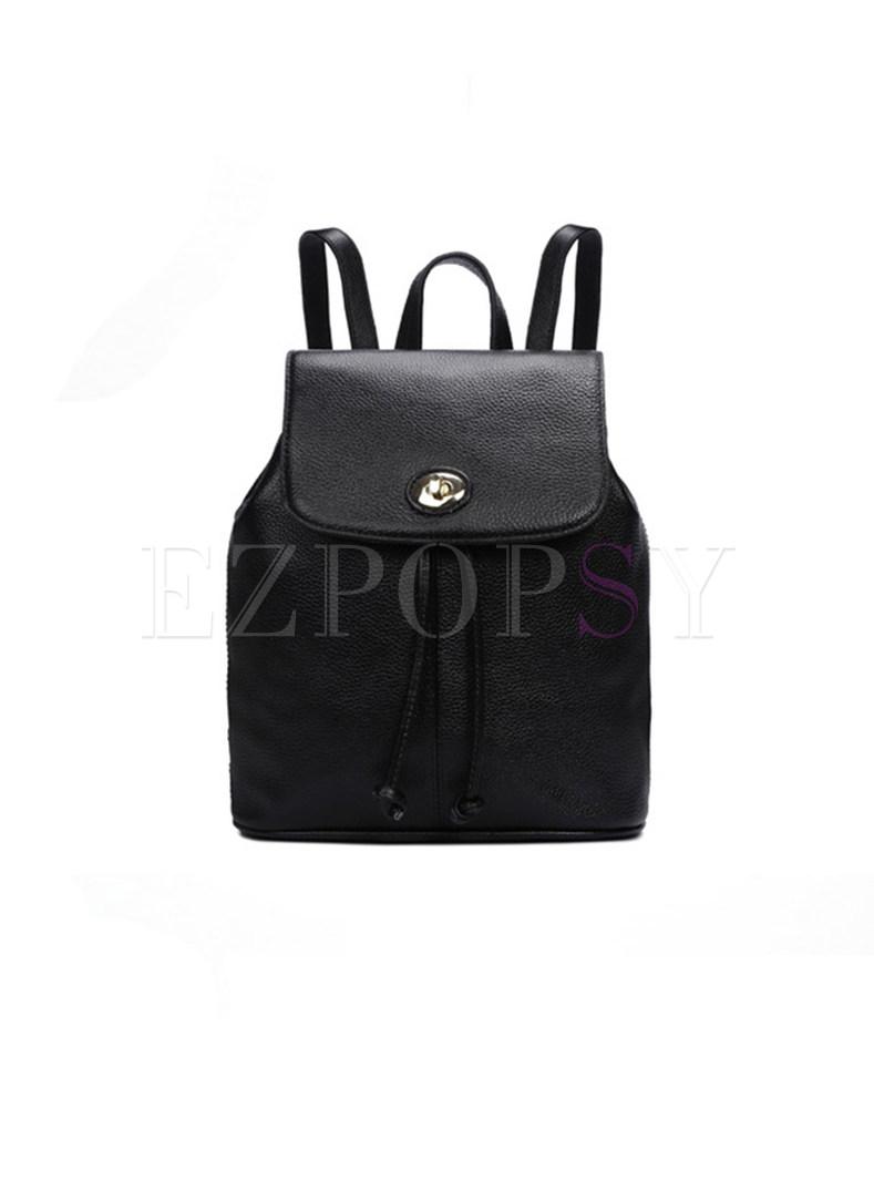Stylish Cowhide Leather Push Lock Backpack