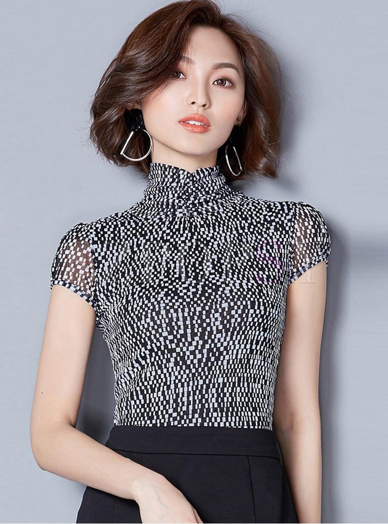 Brief Stand Collar Plaid Slim Top