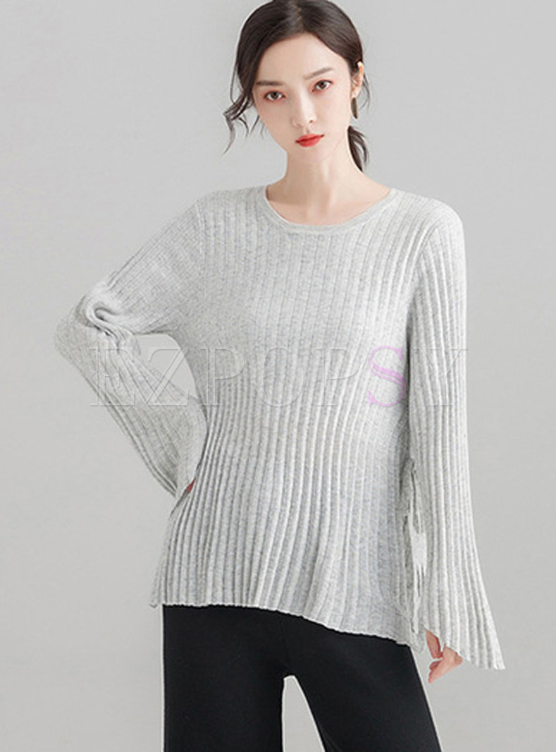 Pure Color Flare Sleeve Tied Slim Knitted Sweater