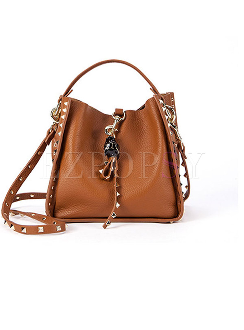 Casual Cowhide Rivet Top Handle & Crossbody Bag