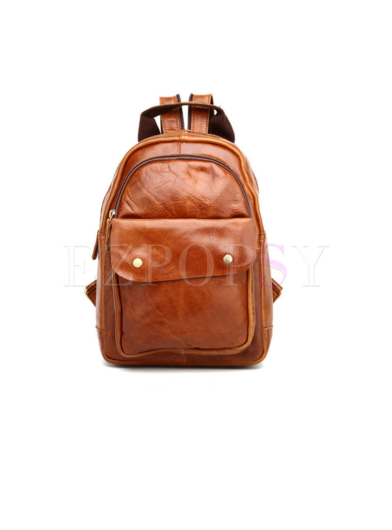 Casual Zipper Pocket Genuine Leather Backpack