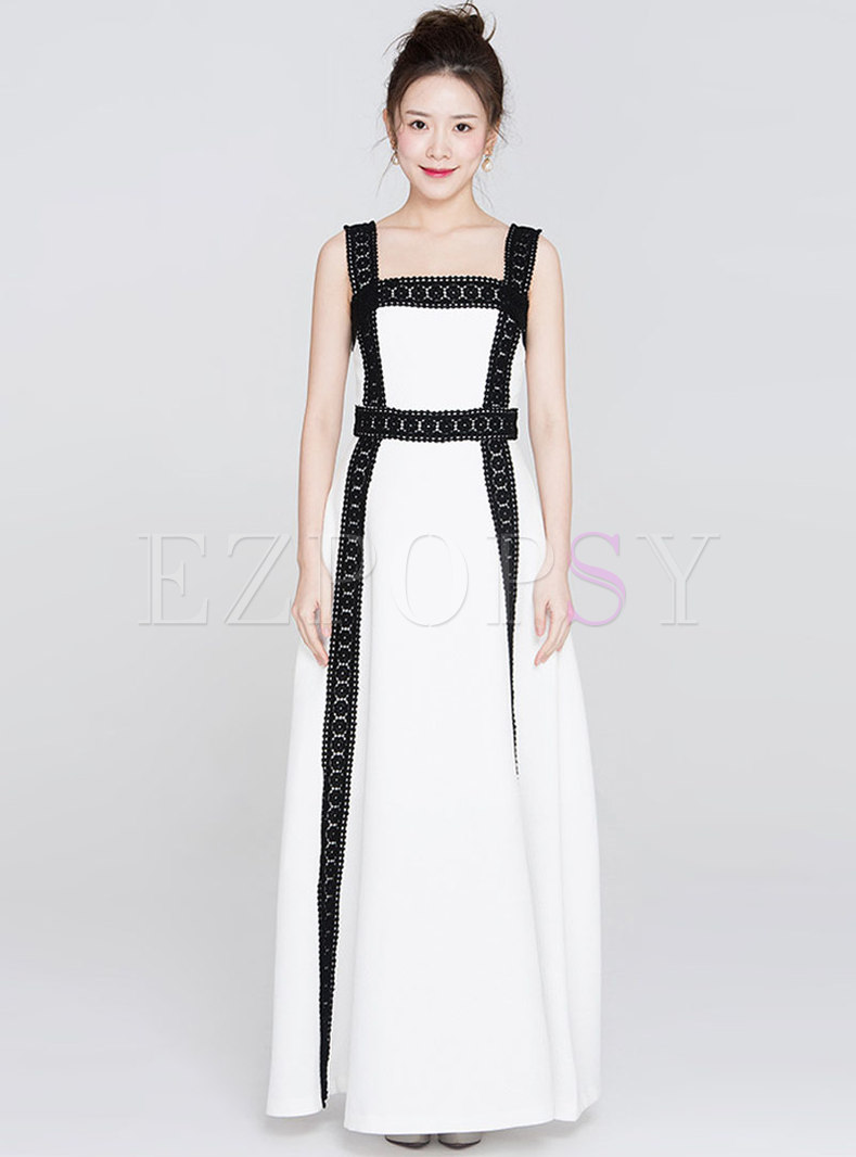 Elegant Monochrome Square Neck Maxi Dress