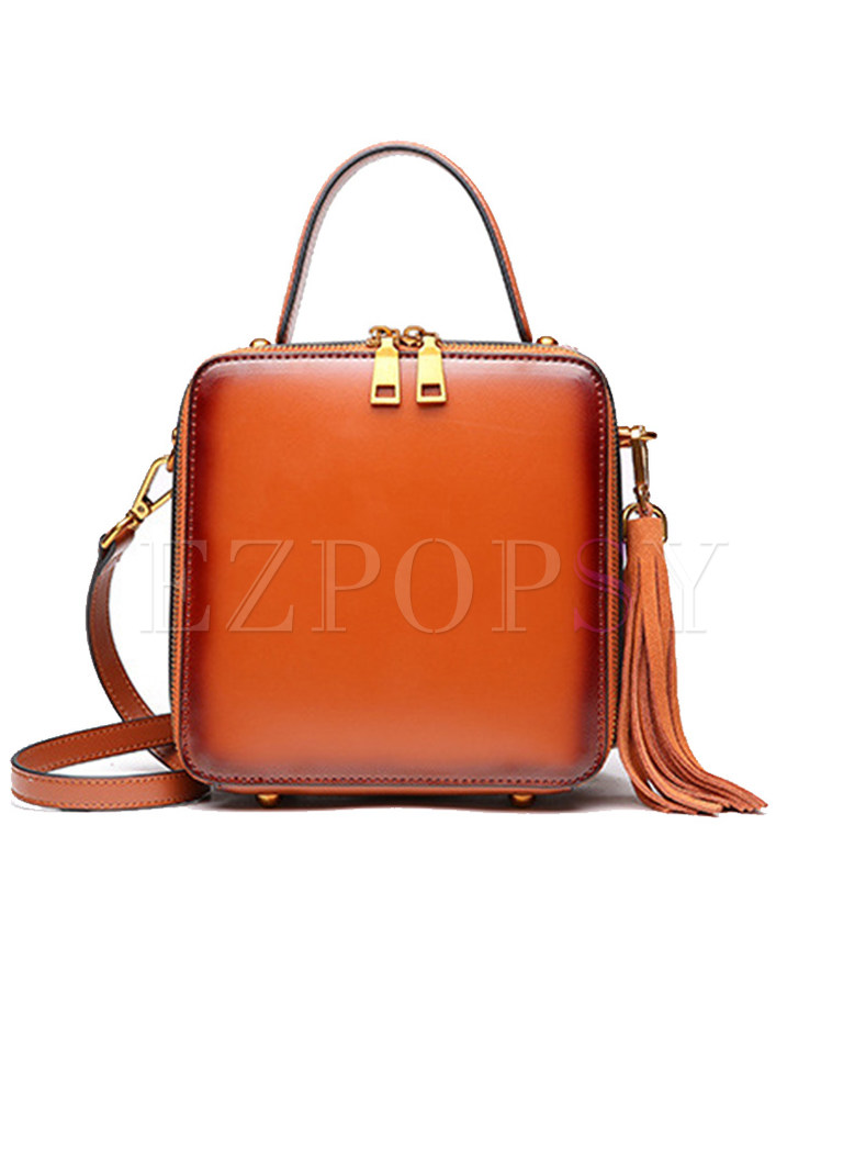 Chic Split Cowhide Square Crossbody & Satchel Bag