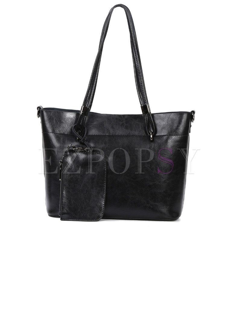 Casual Open-top Tote Bag With Mini Coin Cases