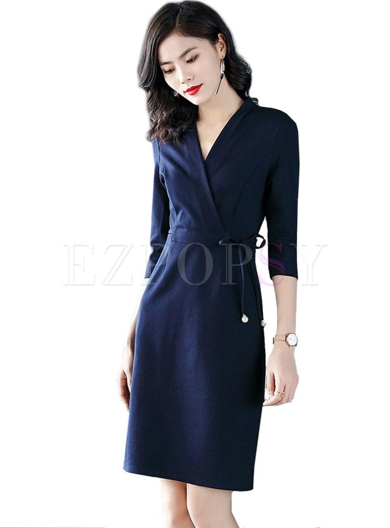 Blue Elegant Tied V-neck A Line Dress
