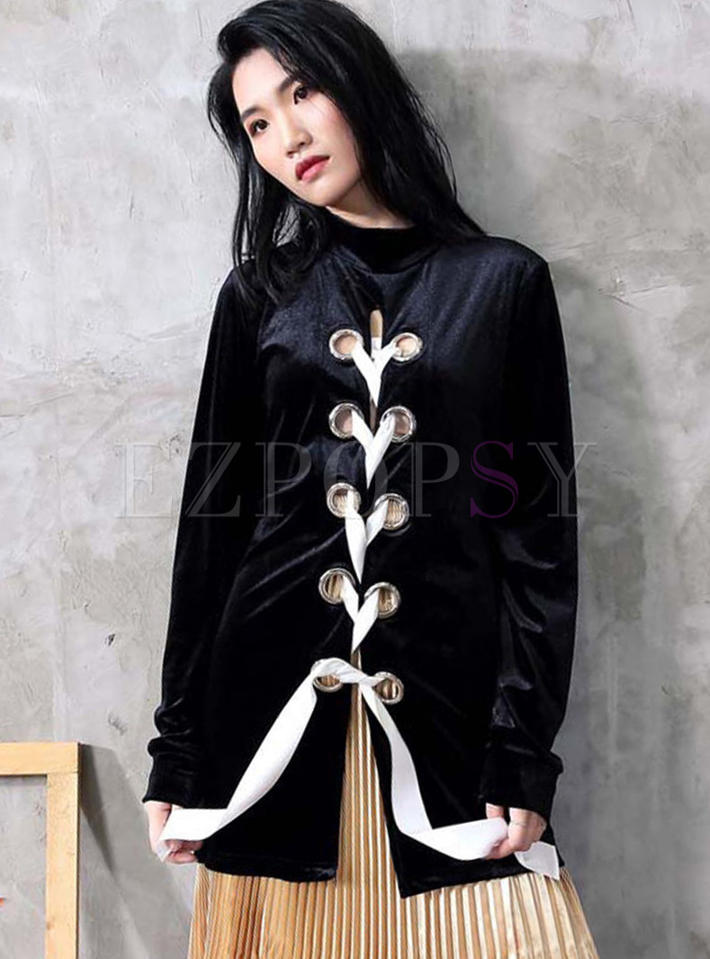 Fashionable Black Turtle Neck Hollow Out Tied Sweatshirt