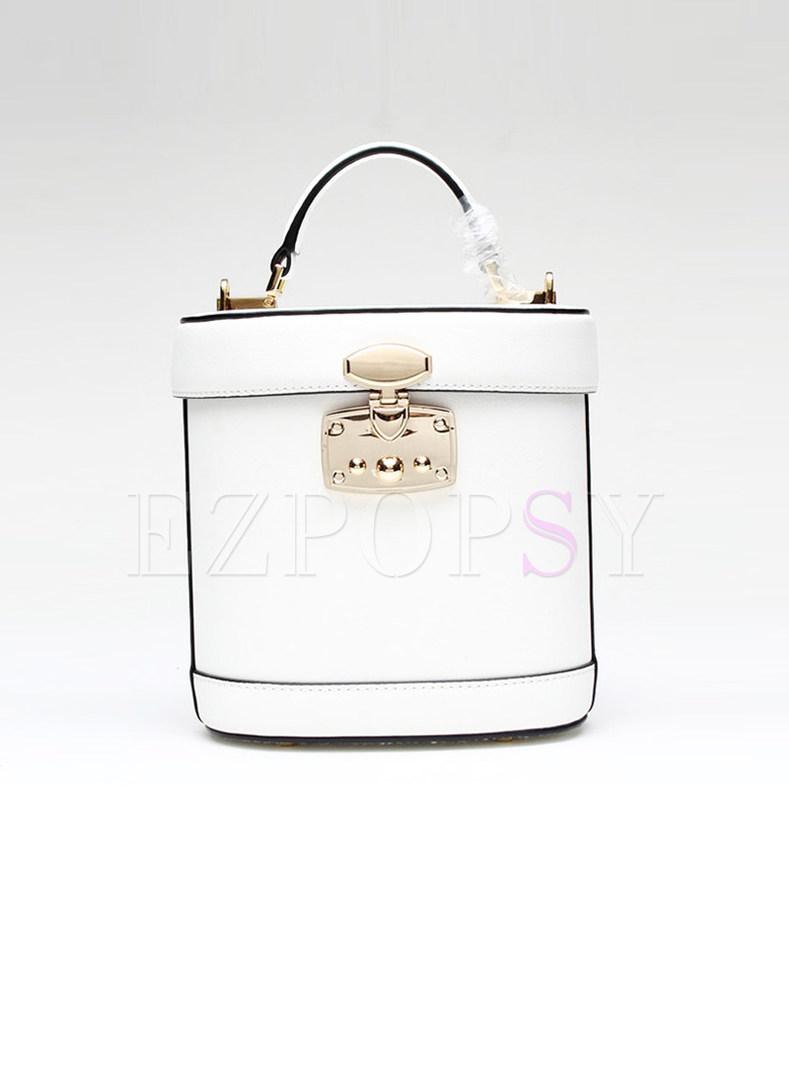 Vintage Cowhide Lock Barrel Bag