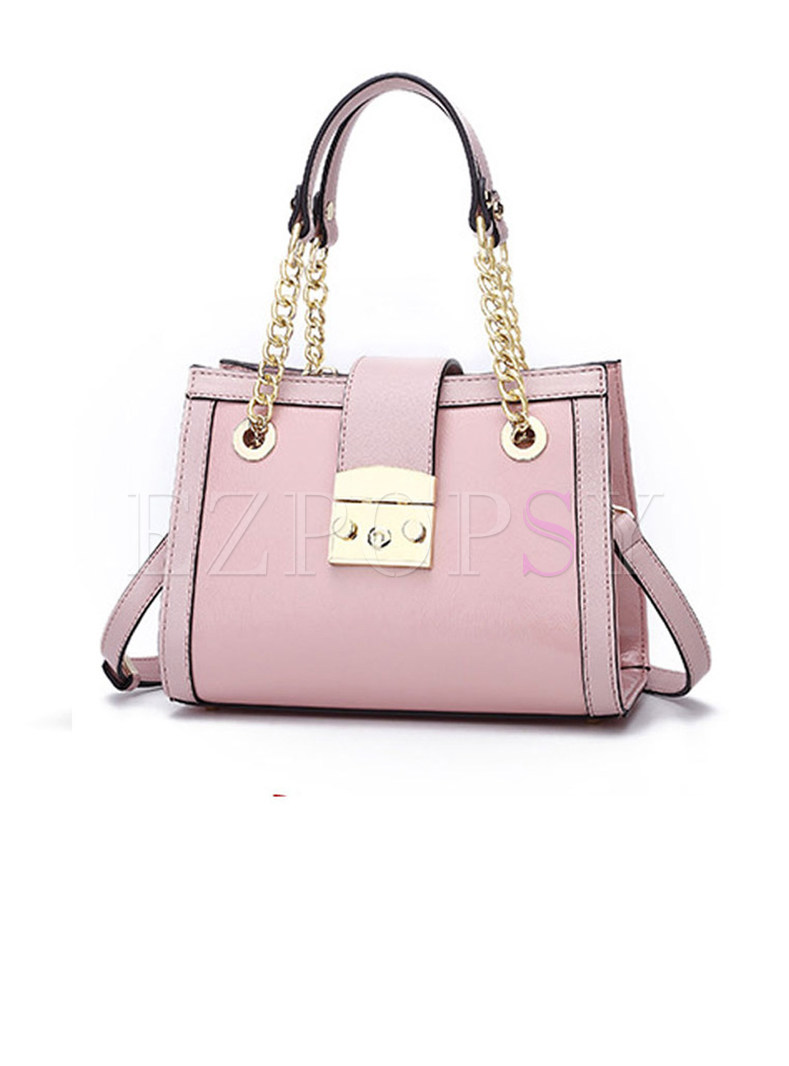 Stylish PU Clasp Lock Chain Crossbody & Top Handle Bag