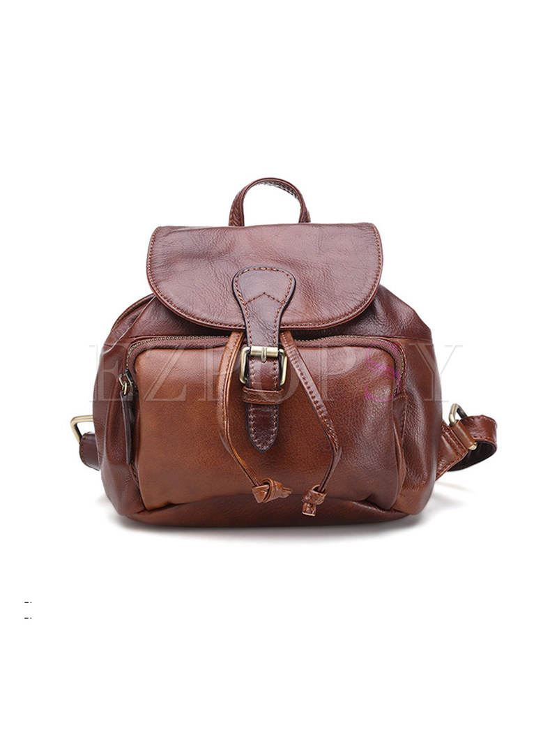 Retro Buckle Closure Genuine Leather Backpack