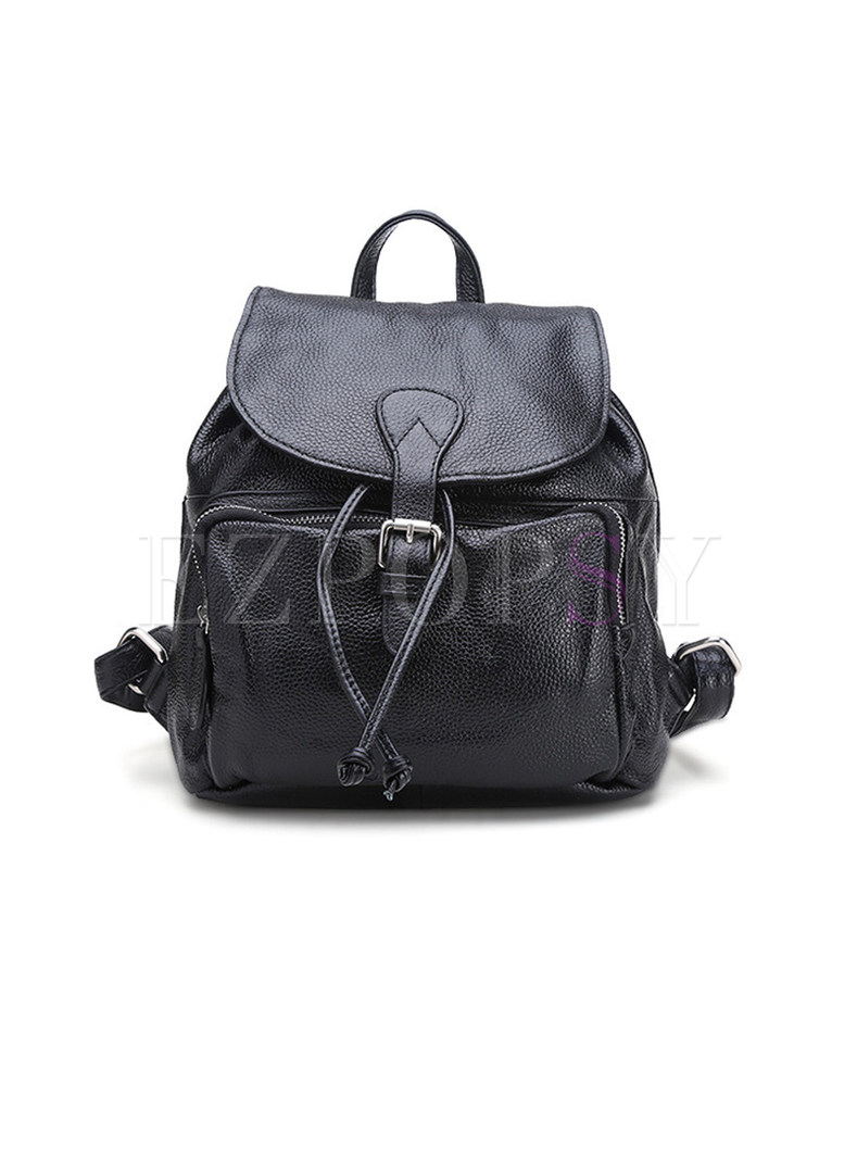 Casual Cowhide Leather Buckle Closure Backpack