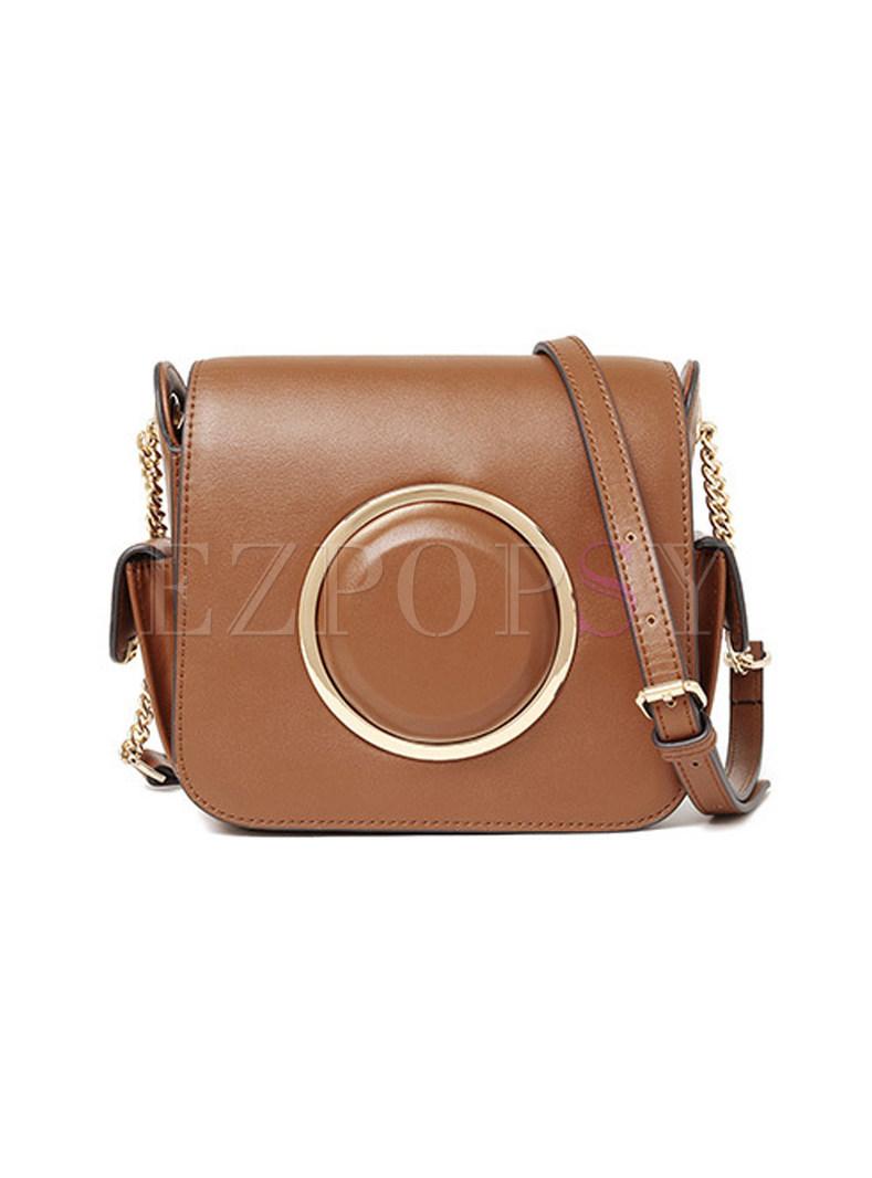 Brief Circle Camera Design Push Lock Crossbody Bag