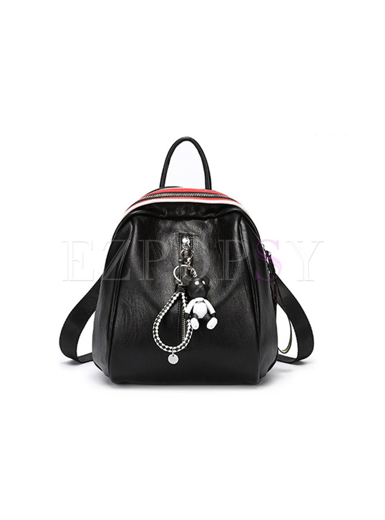 Casual Zipper Pocket Red Backpack
