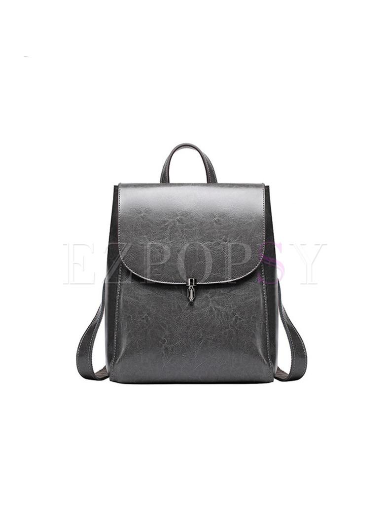 Street Push Lock Cowhide Backpack
