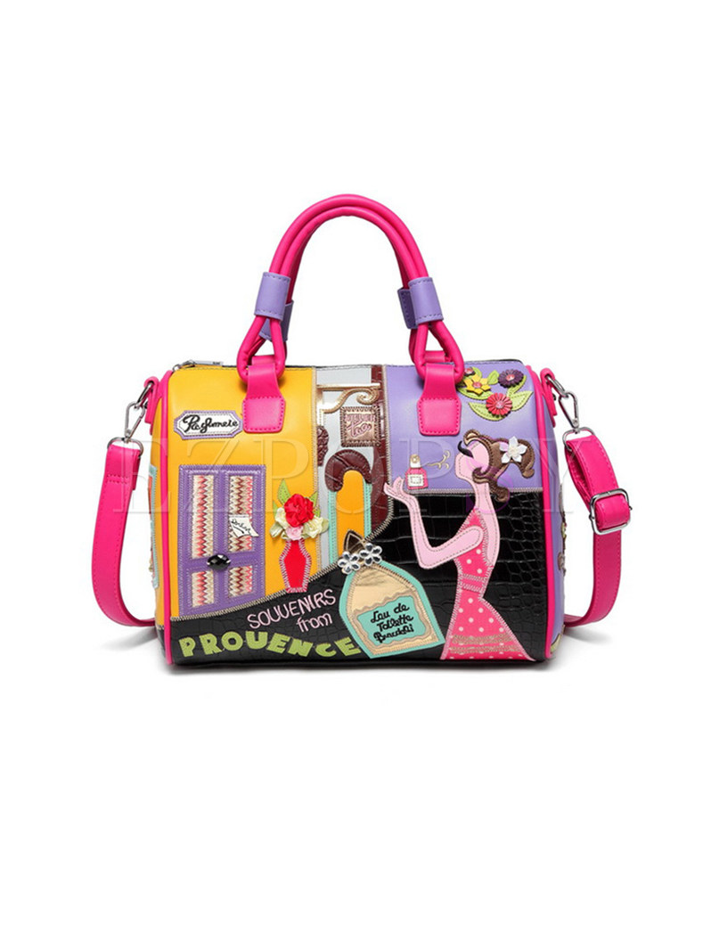 Cute Girl Embroidery Top Handle Bag
