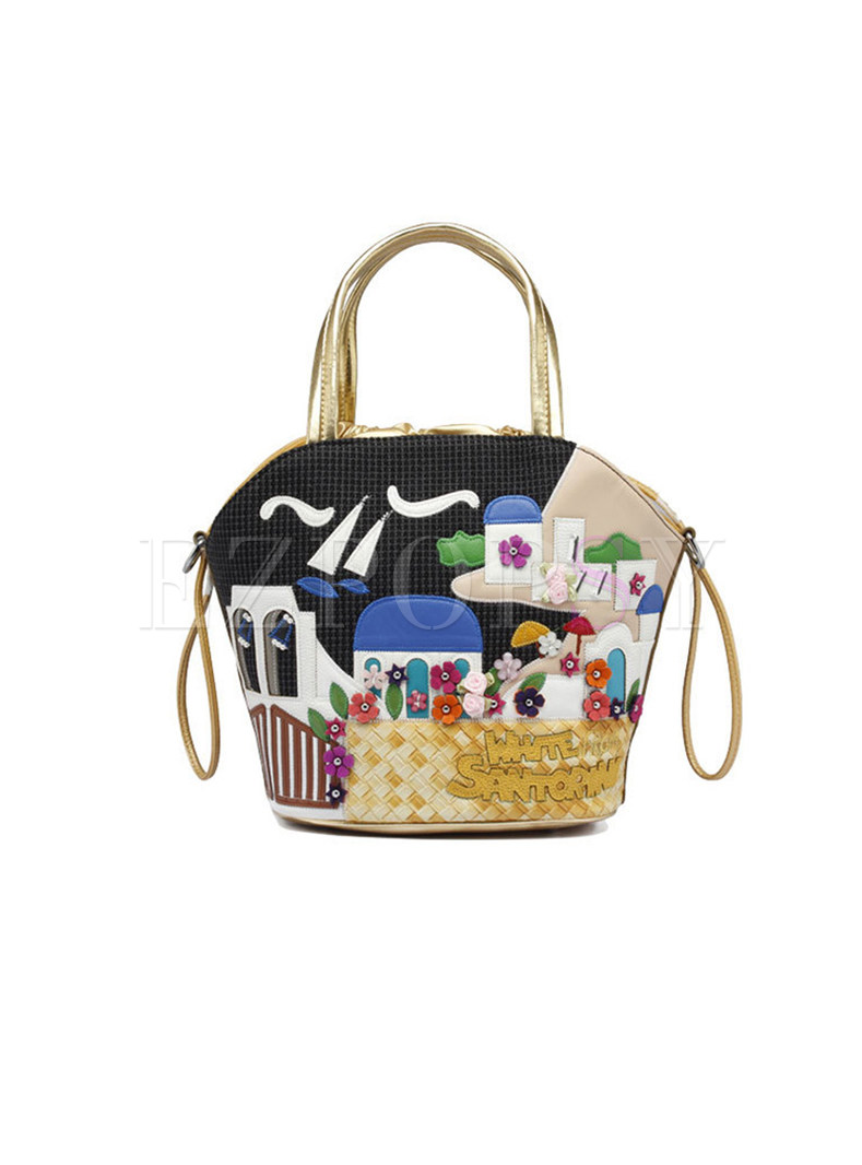Vocation Embroidery Cartoon Top Handle Bag