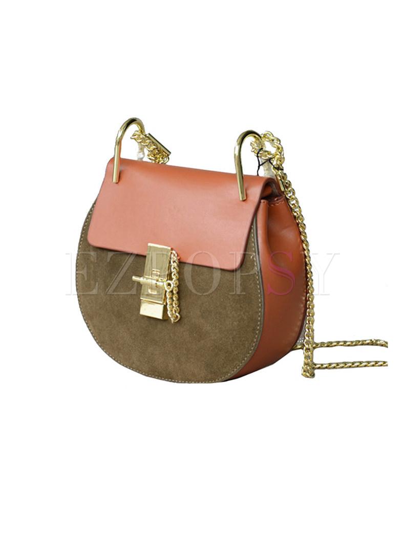 Lichee Pattern Clasp Lock Chain Crossbody Bag
