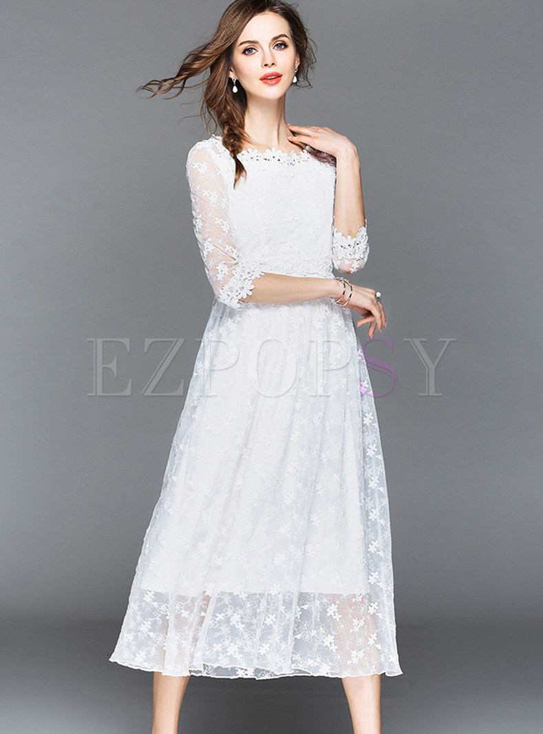 White Three-quarter Sleeve Embroidery Lace Dress