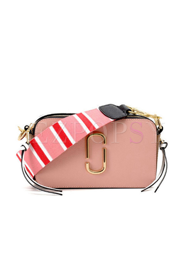 Trendy Wide Strap Color-blocked Cowhide Crossbody Bag