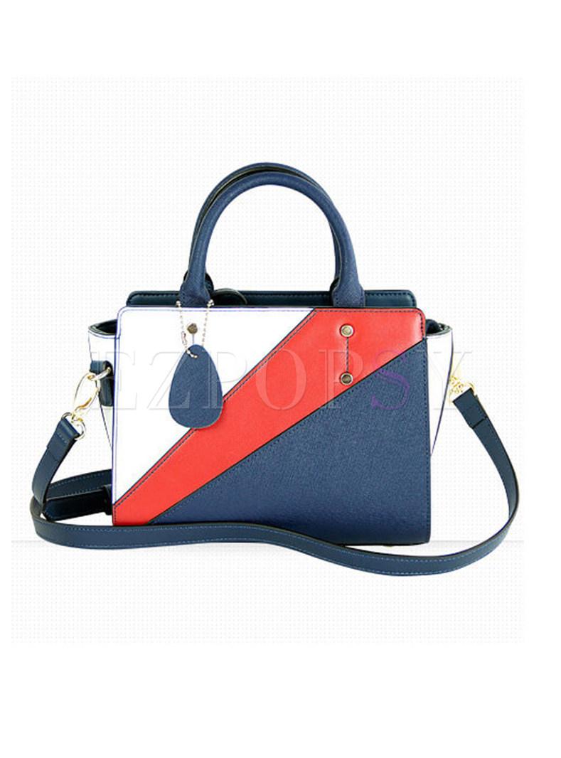 Stylish Color-blocked Zippered Top Handle & Crossbody Bag