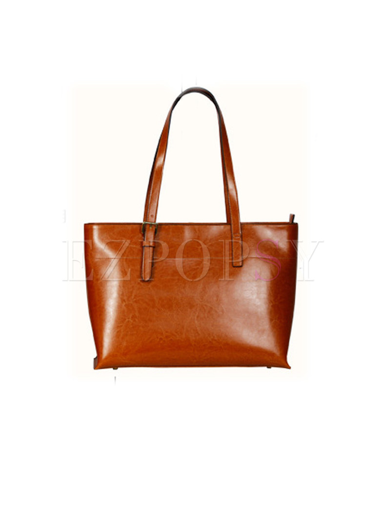 Brown Leather Zippered Single-shoulder & Tote