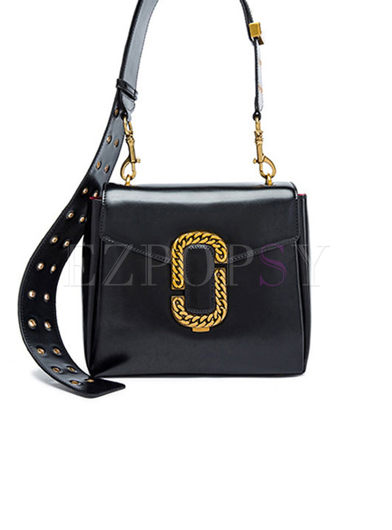 Chic Genuine Leather Lock Crossbody Bag