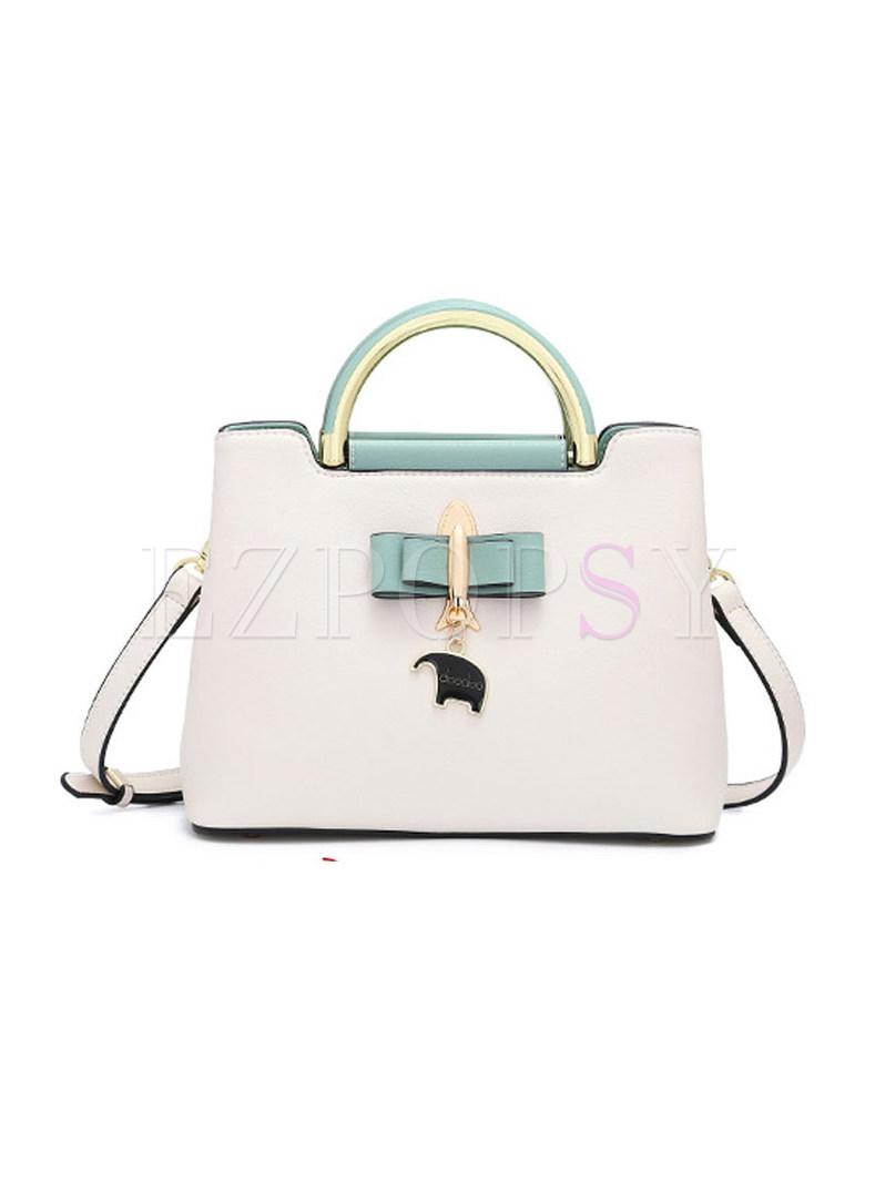 Chic Color-block Split Zipper Top Handle & Crossbody Bag