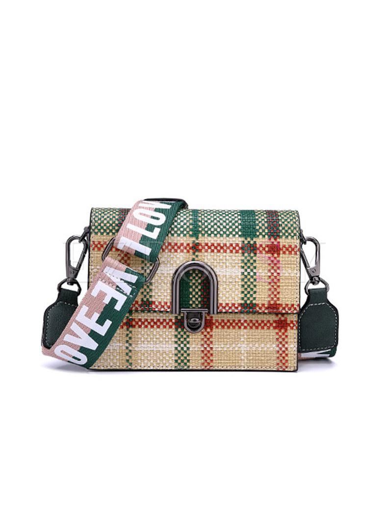 Popular Grid Clasp Lock Crossbody Bag