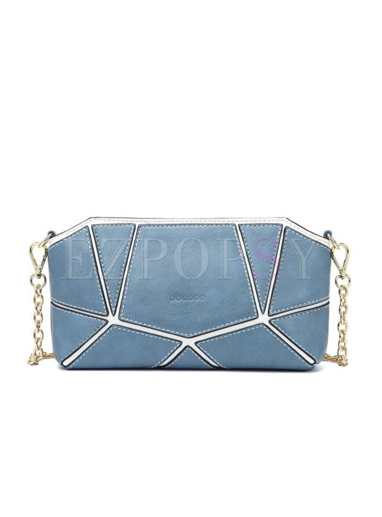 Color-block Asymmetric Zipper Chain Crossbody Bag