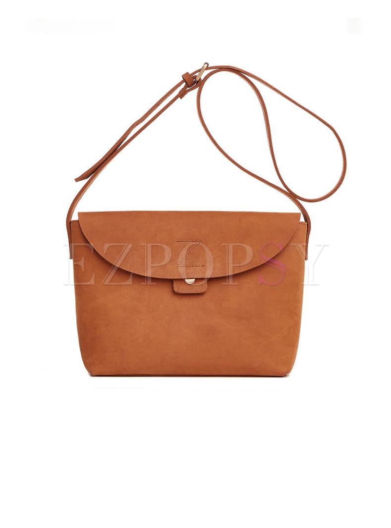 Vintage Clasp Lock Cowhide Leather Crossbody Bag